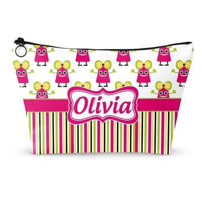 Pink Monsters & Stripes Makeup Bags (Personalized)