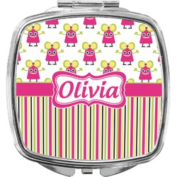 Pink Monsters & Stripes Compact Makeup Mirror (Personalized)