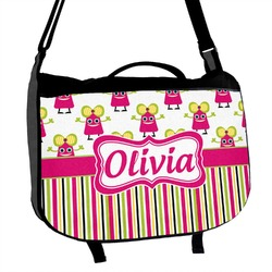 Pink Monsters & Stripes Messenger Bag (Personalized)