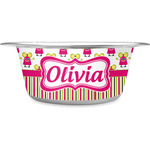 Pink Monsters & Stripes Stainless Steel Dog Bowl (Personalized)