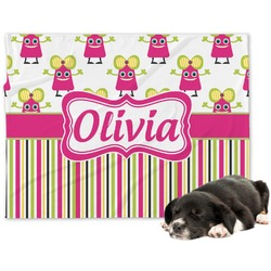 Pink Monsters & Stripes Minky Dog Blanket (Personalized)