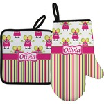 Pink Monsters & Stripes Oven Mitt & Pot Holder (Personalized)