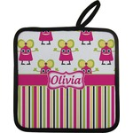 Pink Monsters & Stripes Pot Holder w/ Name or Text