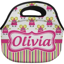 Pink Monsters & Stripes Lunch Bag (Personalized)