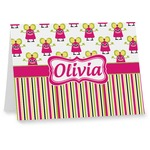 Pink Monsters & Stripes Note cards (Personalized)