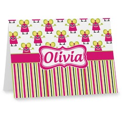 Pink Monsters & Stripes Notecards (Personalized)