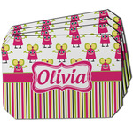 Pink Monsters & Stripes Dining Table Mat - Octagon w/ Name or Text