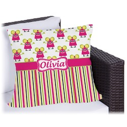 """Pink Monsters & Stripes Outdoor Pillow - 18"""" (Personalized)"""