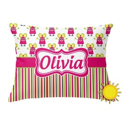 Pink Monsters & Stripes Outdoor Throw Pillow (Rectangular) (Personalized)