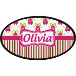 Pink Monsters & Stripes Oval Trailer Hitch Cover (Personalized)