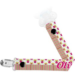 Pink Monsters & Stripes Pacifier Clips (Personalized)