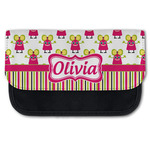 Pink Monsters & Stripes Canvas Pencil Case w/ Name or Text