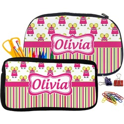 Pink Monsters & Stripes Neoprene Pencil Case (Personalized)