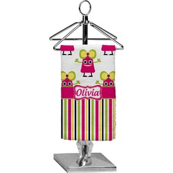 Pink Monsters & Stripes Finger Tip Towel - Full Print (Personalized)