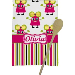 Pink Monsters & Stripes Kitchen Towel - Full Print (Personalized)