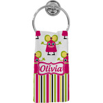 Pink Monsters & Stripes Hand Towel - Full Print (Personalized)