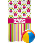 Pink Monsters & Stripes Beach Towel (Personalized)