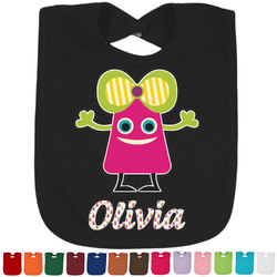 Pink Monsters & Stripes Baby Bib - 14 Bib Colors (Personalized)