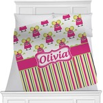 Pink Monsters & Stripes Minky Blanket (Personalized)