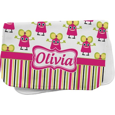 Pink Monsters & Stripes Burp Cloth (Personalized)