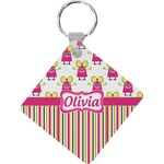 Pink Monsters & Stripes Diamond Key Chain (Personalized)