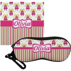 Pink Monsters & Stripes Eyeglass Case & Cloth (Personalized)