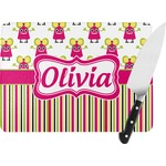 Pink Monsters & Stripes Rectangular Glass Cutting Board (Personalized)
