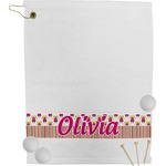 Pink Monsters & Stripes Golf Towel (Personalized)