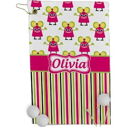 Pink Monsters & Stripes Golf Towel - Full Print (Personalized)