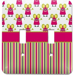 Pink Monsters & Stripes Light Switch Cover (2 Toggle Plate) (Personalized)