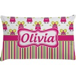 Pink Monsters & Stripes Pillow Case (Personalized)