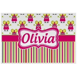 Pink Monsters & Stripes Placemat (Laminated) (Personalized)