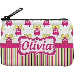 Pink Monsters & Stripes Rectangular Coin Purse (Personalized)