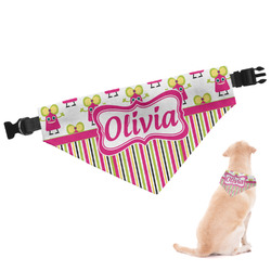Pink Monsters & Stripes Dog Bandana (Personalized)