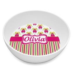 Pink Monsters & Stripes Melamine Bowl 8oz (Personalized)