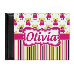 Pink Monsters & Stripes Genuine Leather Guest Book (Personalized)