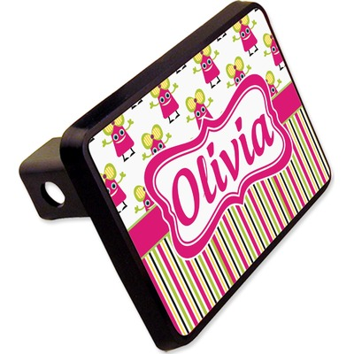 """Pink Monsters & Stripes Rectangular Trailer Hitch Cover - 2"""" (Personalized)"""