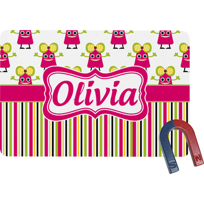Pink Monsters & Stripes Rectangular Fridge Magnet (Personalized)