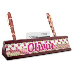 Pink Monsters & Stripes Red Mahogany Nameplate with Business Card Holder (Personalized)