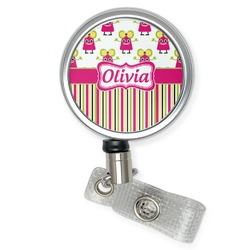 Pink Monsters & Stripes Retractable Badge Reel (Personalized)
