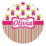 Pink Monsters & Stripes Round Decal (Personalized)