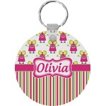 Pink Monsters & Stripes Round Keychain (Personalized)