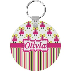Pink Monsters & Stripes Keychains - FRP (Personalized)
