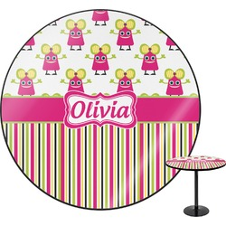 """Pink Monsters & Stripes Round Table - 24"""" (Personalized)"""