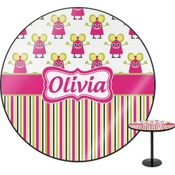 Pink Monsters & Stripes Round Table (Personalized)