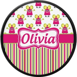 Pink Monsters & Stripes Round Trailer Hitch Cover (Personalized)