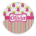 Pink Monsters & Stripes Sandstone Car Coasters (Personalized)