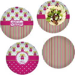 Pink Monsters & Stripes Set of 4 Lunch / Dinner Plates (Glass) (Personalized)