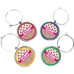 Pink Monsters & Stripes Wine Charms (Set of 4) (Personalized)
