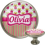 Pink Monsters & Stripes Cabinet Knob (Silver) (Personalized)